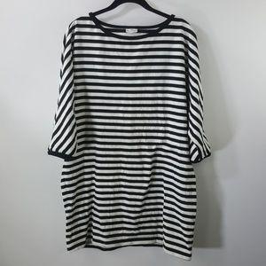 Marimekko black/white striped cotton tunic top L